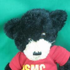 BIG US MARINE CORPS USMC RED T-SHIRT AND BLACK TEDDY BEAR PLUSH STUFFED ANIMAL