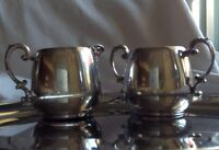 Wm Rogers Silver Creamer Sugar Bowl Set Tableware Dining Bar Collectible Antique