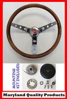 "Mercury Cougar Comet Cyclone Grant Steering Wheel Walnut Wood 15"" Chrome Spokes"