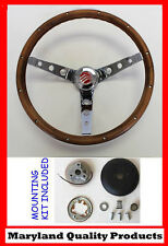"Mercury Cougar Comet Cyclone Grant Steering Wheel Walnut Wood 15"" Chrome Spokes"