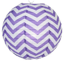 14'' Chinese Japanese Paper Lantern Purple Chevron Home Wedding Party Decor NEW
