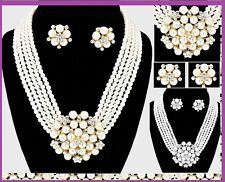 Icon Audrey Hepburn Style Strand Bead Layered Crystal Pearl Necklace Wedding SET