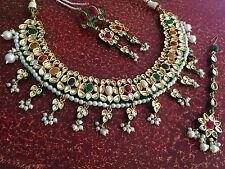 Etnico Indiano Matrimonio Set Gioielli, Collana Orecchini in oro i