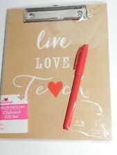 Teacher Appreciation Pen Clip Board Notepad Folder Set Live Love Teach