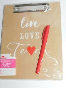 Teacher Valentine Appreciation Pen Clip Board Notepad Folder Set Live Love Teach