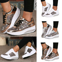 Fashion Women Sequins Athletic Shake Shoes Casual Platform Lace Up Sneakers Size
