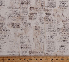 Vintage Love Notes French Words Writing Cotton Fabric Print by Yard D384.15