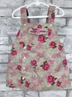 """Vintage Little Tikes """"Major Cutie"""" Tan Pink Camo Floral Overall Dress Baby 24M"""