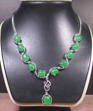 Gold Plate Green JADE Cabochon  Bead Beads Necklace Diamond Imitation 268238 US