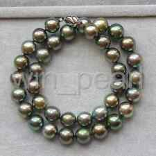 elegant 10-11mm tahitian round black green pearl necklace 18inch 925s
