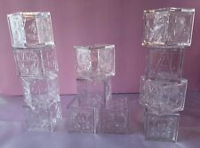 12 Clear Baby Blocks Square Plastic Baby Shower Birthday Favor Boxes Keepsake