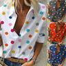 Women Colored Polka Dot Lapel Neck Half Sleeve T-Shirt Casual Tops Blouse Tee