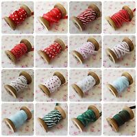 Christmas Ribbon by Bertie's Bows Snowflakes Happy Christmas Craft Red Green 9mm