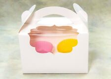 Simple White Cupcake/Muffin gift Box/2 holds Inserts & Clear Windows, pack of 12