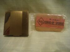 Vintage Vanstyle Powder Compact Gold Tone & a Wally's Rubber Make-Up Sponge