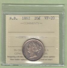 1862 New Brunswick 20 Cents Silver Coin - ICCS Graded VF-20