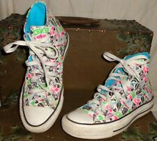 Converse All Stars White Pink Blue High Heels Purse Sneakers Shoes Sz 6 Women's