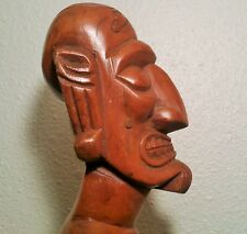 "20"" Easter Island Moai Kavakava wood oceania pacific statue vtg rapa nui tiki"