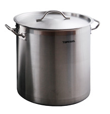 Deep Stainless Steel Stock Soup Pot 36-100l Stew Casserole Brew Cooking Pan INOX 100 Litres