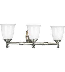 Progress Lighting 3-Light Brushed Nickel Bathroom Vanity Light P3029-09
