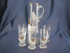 Antique Mary Gregory Pitcher Set 5 Tumblers Hand Painted Glass Deer Snow Trees