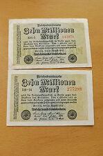 * 2 x 10 millones de marcos 1923 rico billetes * (ord2)
