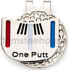 "4x ""One - Putt"" Golf Ball Marker & 4 x Magentic Hat Clip"