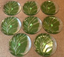 8 Pottery Barn Embossed & Textured Glass Round Palm Platter Green & Clear Unused