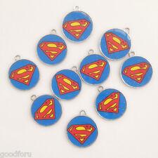 HOT Movie 10pcs Super Man Super Hero Enamel Metal Charms pendants Boys Jewelry