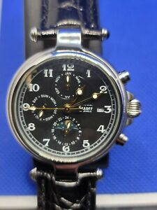 Stauer Automatic Mechanical Chronograph Mens 27 Jewels Black Moonphase RUNS