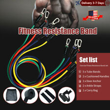 11pcs/Set Pull Rope Exercise Resistance Bands set Home Gym Equipment Fitness US