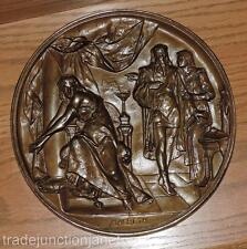 "ANTIQUE PICAULT, EMILE LOUIS (FRENCH 1839-1915) ""MACBETH"" BRONZED 3D WALL PLAQUE"