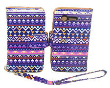 Stylish Tribal Wallet Leather Case for LG Optimus Fuel L34C / Zone 2 - Kickstand