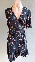 💜 ZARA Half Sleeve Ruffle Wrap Dress Black Floral Size S Buy7=FreePost L835