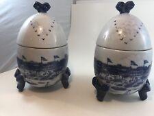 Victorian Era Ceramic Egg Shaped Cookie Jar Pair Two Vases Hand Painted Antique