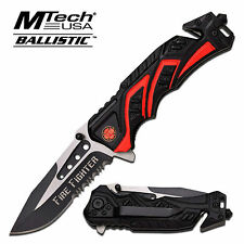 MTECH BALLISTIC FIRE FIGHTER ASSISTED OPENING FOLDING RESCUE KNIFE MT-A865FD NEW