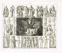ANTIQUE PRINT VINTAGE 1851 ENGRAVING RELIGIOUS DEITIES NORSE GAULS CELTS
