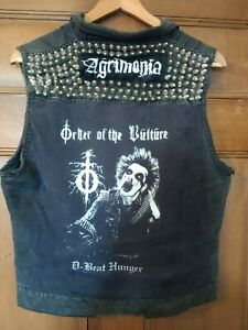 Crust Punk Battle Jacket Cut Off Patch Denim Studded Vest D-Beat Hardcore Size S