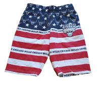 Chicago Bulls NBA pajama Shorts Mens Medium cotton blend USA FLAG Pattern EUC