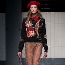 MMC63 Damen Designer Inspiriert Stickerei Wolle Strick Pullover