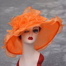 Women Dress Church Wedding Kentucky Derby Wide Brim Feather Sun Floppy Hat A341 Orange