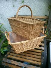 Vintage Two Wicker Baskets With Handles