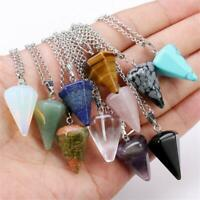 Natural Reiki Pendant Healing Crystal Gemstone Hexagon Pyramid Necklace Jewelry