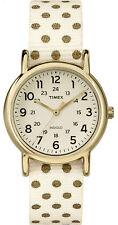 "Timex TW2P65400, Women's ""Weekender"" Polka Dot Fabric Strap Watch, Indiglo,"