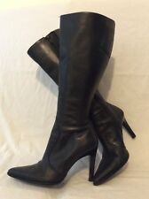 Cathy Jean Black Knee High Leather Boots Size 6