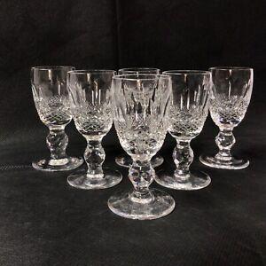 "Waterford Crystal Colleen Six Short Cut Stem Liqueur Glasses H. 8.5cm / 3.1/3"")"