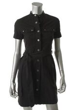 Famous Catalog NEW S Black Cuffed Short Sleeve Military Wear to Work Shirt Dress