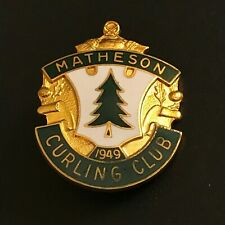 New listing VINTAGE CURLING PIN MATHESON CURLING CLUB (Birks missing screw on back)