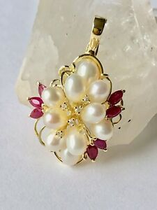 14K Yellow Gold Pearl Cluster Pendant Enhancer with Diamonds and Rubies 6.5g
