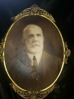 Victorian Brass Oval Ornate Antique Picture Frame tin back